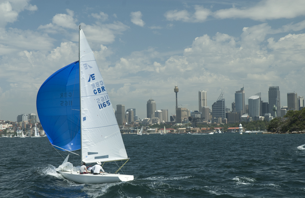 A yacht sailing in Sydney Harbour, New South Wales, Australia.