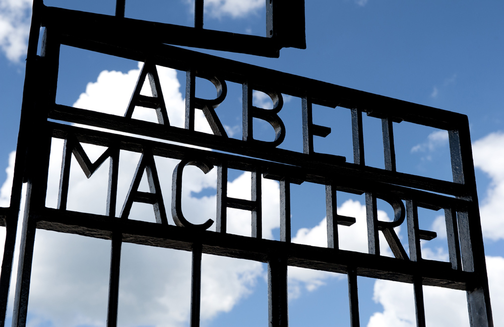 Work will set you free gate at Sachsenhausen Concentration Camp, Oranienburg, Germany.