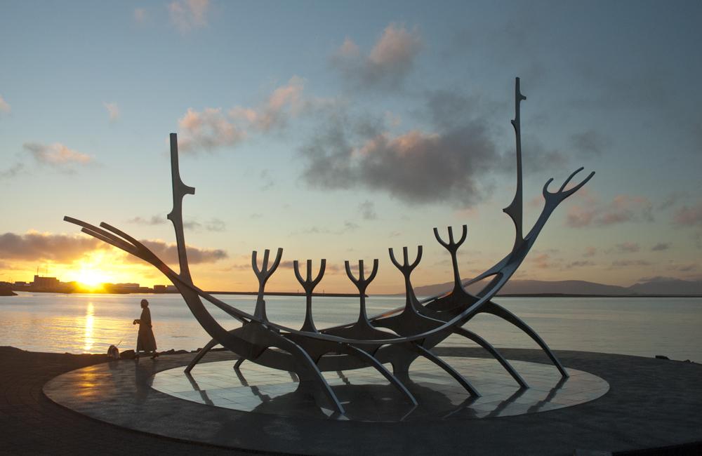 A metal sculpture of a Viking boat called Sun Voyager, Reykjavik, Iceland.