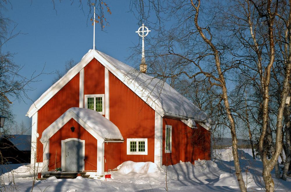 Red church in Jukkasjärvi, Sweden.